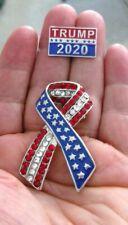 """2 Great Pins - Trump 2020 Pin & 2"""" USA Ribbon Flag Pin with Rhinestones & Stars"""