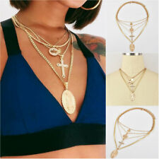 Fashion Lotus Cross Virgin Mary Crystal Chain Gold Pendant Multilayer Necklaces