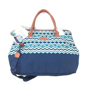 NWT Arctic Zone Blue Chevron Microban Thermal Insulated Picnic Satchel Bag