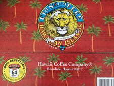 54 Original LION Hawaii Hawaiian Coffee K-Cups for Keurig Medium Roast Free Ship