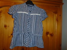Navy blue and white gingham check hip length shirt, GEORGE, 4-5 years