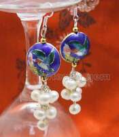 6-7mm Round White Natural Pearl Dangle Earring for Women & 18mm Blue Cloisonne