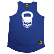 Gym Bodybuilding Vest Funny Mens Sports Performance Singlet - Kettlebell Skull
