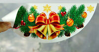 2 CHRISTMAS WREATHS STICKERS SNOWFLAKES BELLS BAUBLE REUSABLE WINDOW DECORATIONS