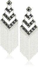 JULES SMITH - Dynasty Chandelier Earrings in Silver & Black Stones
