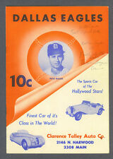 Dallas Eagles vs Fort Worth Cats 1953 baseball scorecard