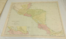 """1908 Rand McNally MAP of CENTRAL AMERICA & PANAMA/Huge 20.5x28""""/Includes Index"""