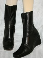 DIBA WOMEN'S SEXY MID-CALF short ANKLE BOOTS BLACK LEATHER WEDGE HEEL 7