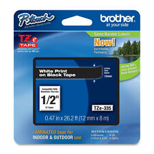 Brother TZe335 12mm white on black TZ Ptouch label tape PT D200 D400 2730 2730VP