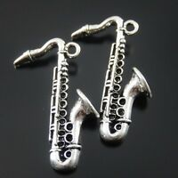 10 pcs Antiqued Silver Alloy Saxophone Shaped Charms Pendants Jewelry Making