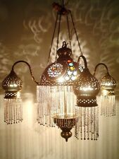 Br264 Four Shades Moroccan Jeweled Pendant Down Light / Lamp Chandelier