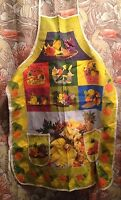 VTG Kitchen Apron Fruits Baskets Bright Yellow KITSCH RETRO MOD COLORS FUNKY