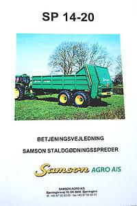 Original SAMSON SP 14-20 Manure Spreader Betjeningsvejledning / Parts + SP20-20