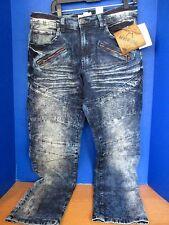 AKNOWLEDGE~Blue SLIM Stone Wash JEANS~Zippered Pockets~Men's 34 x 32~NWT