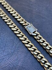 Mens Real Miami Cuban Link Chain 14k Gold Over Stainless Diamond Clasp WHOLESALE