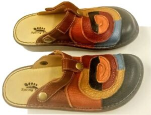 Spring Step Lollipop Multi Colored Leather Slip On Clogs Euro Size 37 NEW /BOX*!