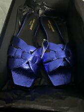 New Saint Laurent Blue Supercrack Slide Sandals 38 (7.5)