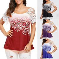 Summer Womens Blouse Lace Stitching Floral Printed Short Sleeve Loose Tops Shirt
