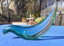 "Vintage Murano Green Opalescent Dove Bird Sculpture/Paperweight 10"""