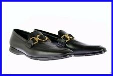 NEW VERSACE BLACK OSTRICH LEATHER CITY LOAFER SHOES 43 - 10