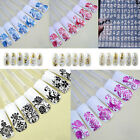 Nail Art Stickers Stamping 3D Decoration 108Pcs Flower Decals Tools Silver DIY