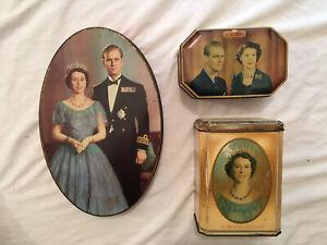 1953 Vintage England Royal Queen Elizabeth Duke Of Edinburgh Coronation 3 Tins