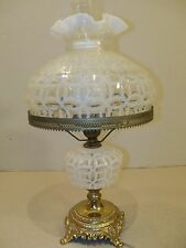 "Fenton French Opalescent WEDDING RING Electric Table Lamp w/ 10"" Shade Item 1790"