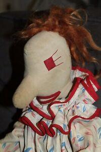 Folk Art VINTAGE Stuffed Doll CLOWN Kinda Creepy!