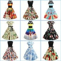 Party Womens Sleeveless Cocktail Floral Dress Christmas Swing Evening Dresses