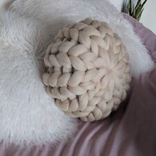 Chunky Knit Cushion - Round Merino Wool Pillow - Scandi - handmade - BEIGE