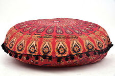 "32"" Art Floor Pillows Round Meditation Cushion Cover Ottoman Pouf Large Mandala"