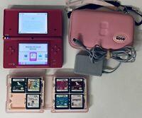 Nintendo DSi Pink + 7 Games + Original Charger + Case + Pink Stylus