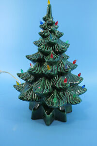 Forest Green Tabletop Ceramic Light-Up Christmas Tree