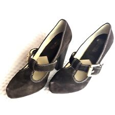 dc97eb4cf440 Michael Kors Womens Heels Sz 7 Brown Suede Leather Mary Jane Pumps Buckle  Strap