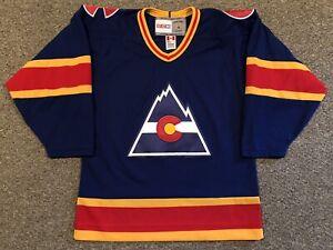 Colorado Rockies - 1977-82 Blank CCM Vintage Away Blue Jersey sz Small
