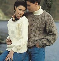 "Ladies and Mens Sweater and Cardigan Kniting Pattern in DK Easy Knit 28-46"" 882"