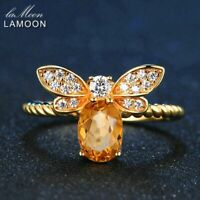 Bee Ring Natural 925 Sterling Silver Oval Citrine Jewelry 14K Gold Plated Women