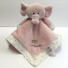 Baby Ganz Pink Elephant Security Blanket Lovey Lil Peanut Embroidered Hearts