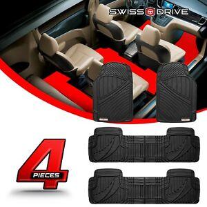 Swiss Drive Premium Heavy-Duty Car Floor Mats PVC 7 SEATER BLACK 4 Pieces