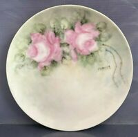 M Z Austria Bread Plate Pink Wild Roses J Behrens Display Hand Painted Porcelain