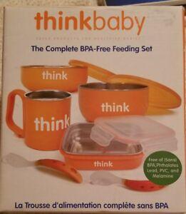 Thinkbaby Extended Complete BPA-Free Feeding Set 9 piece set New in Box Orange