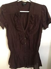 BEBE USA - Brown Short Sleeve Ruffle Front Cotton Silk Blouse Top - Small