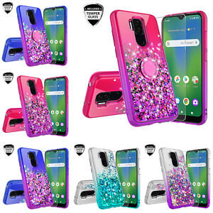 Cricket Influence/AT&T Maestro Plus Liquid Glitter Ring Stand Phone Case Cover