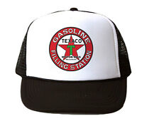 Texaco Gas Trucker Hat Mesh Cap Snapback Adjustable New-Black/White