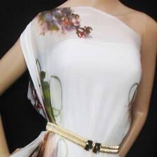 100% pure silk chiffon fabric material floral print on white npc 35046 + Zip