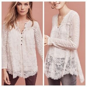Anthropologie Floreat Henley Top M 8 Scalloped Lace Floral Blouse Boho NEW 19231