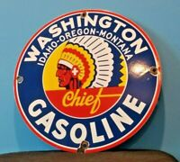 VINTAGE WASHINGTON GASOLINE PORCELAIN SERVICE STATION PUMP PLATE AD SIGN