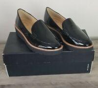 Naturalizer Andie Black Patent Leather 7M Platform Slip On Loafer Women's