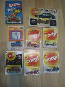 Sammlung von matchbox, corgi und hot wheels Modellen in uralter OVP Blister