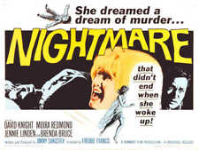 1964 NIGHTMARE VINTAGE HORROR MOVIE POSTER PRINT STYLE C 18x24 9 MIL PAPER